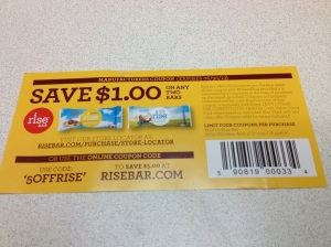 It doesn't take much. 1. I'm a sucker for coupons. 2. I couldn't try one of the bars they gave me. Those are for my trek!